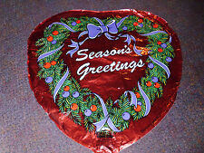 Seasons Greetings Heart Shaped Mylar Balloon