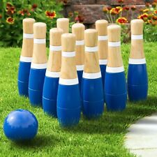 8 Inch Wooden Lawn Bowling Set with Mesh Bag 10 Pins Backyard Family Game