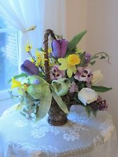 Silk Floral Basket Lavender, Yellow, White, Daffodils Tulips, Pansy, Lilac