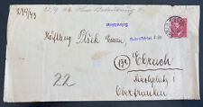 1944 Prague BM Germany Arbeitslager Slave Labor Prison Cover to Elbach