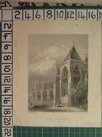 c1860 ANTIQUE PRINT ~ YORK CATHEDRAL VIEW OF THE CHAPTER HOUSE