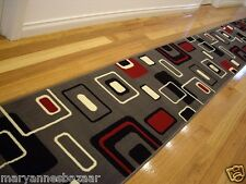 Hallway Runner Hall Runner Rug Modern Grey Red Black 220cm Long 44534