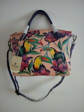 "Womens Anuschka Bag Leather Hand Painted ""Tropical Toucan"" Tote Satchel Handbag"