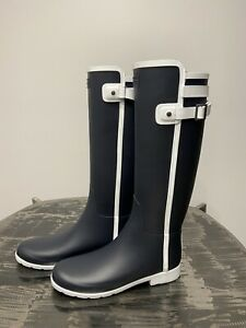 New Hunter Refined Slim Fit Contrast Tall Rain Boots: Navy/White - Size 9