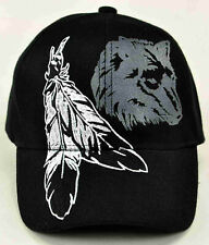 NATIVE PRIDE INDIAN BIG FEATHER WOLF CAP HAT BLACK