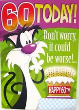 "Humourous Cat with Birthday Cake ""60th Birthday"" Card"