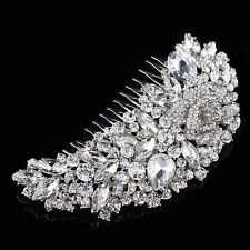 Rhinestone Crystal Rose Flower Hair Comb Headpieces Bridal Wedding Accessory