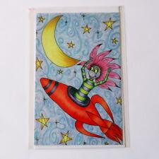 Lge Girl on Rocket Greeting Card - original artwork by Donna Linton - birthday