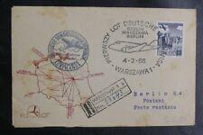 POLOGNE : DEUTSCHE LUFTHANSA 1er VOL BERLIN - WARSZAWA - BERLIN DU 4. 2. 1956