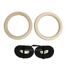 Wood Gymnastic Gym Rings w/ Adjustable Buckles Straps Gym Fitness Training Kit