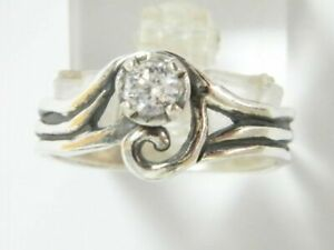 Women SHABLOOL Handmade Sterling Silver 925 White CZ Solitaire Ring