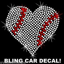 Heart Baseball Sports Love Mom Rhinestone Bling Sparkle Car Decal Sticker 50-04