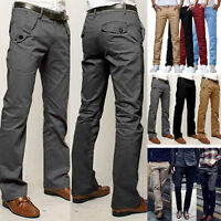 Men's Regular Fit Trousers Cotton Rich Formal Twill Chinos Business Pants Solid