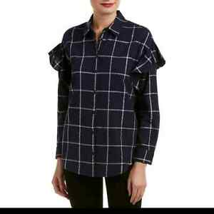 Vince Camuto button front blouse size S navy