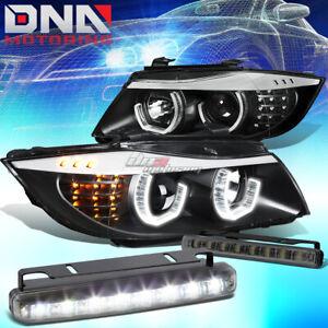 BLACK HALO PROJECTOR HEADLIGHT+CORNER+8 LED SMOKE FOG LIGHT FIT 06-08 BMW E90