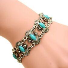 Retro Natural Turquoise Bracelet Tibetan Silver Chain Jewelry Bangle Cuff