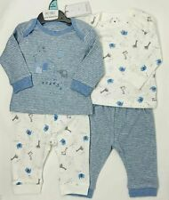 BABY BOYS Mothercare Blue Giraffe Elephant Cotton Pyjamas 2 pack set//1m-18-24m //