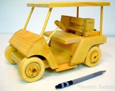 """New Handmade Wooden Model Golf Cart, 9-1/2"""" L x 6-1/2"""" H x 6"""" W"""