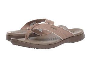 Men Crocs Santa Cruz Canvas Flip 205612-24S Khaki Walnut 100%Authentic Brand New