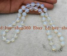 Pretty 8mm Faceted White Opal Round Gemstone Beads Necklace 18'' AAA+