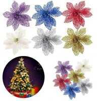 6Pcs Glitter Hollow Wedding Party Decor Christmas Flower Xmas Tree Ornament ge 2
