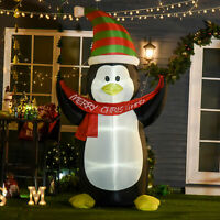 HOMCOM 8' Inflatable Penguin Holding Merry Christmas Banner Decoration with LED