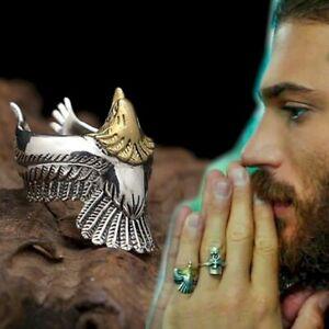 Anello di Can Yaman regolabile AQUILA Ali Uomo Silver con testa Gold DayDreams