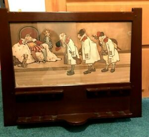 Original Arts & Crafts Period Mission Wooden Pipe Rack John Hassall 1901 Print