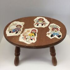 Vintage Wooden Milking Stool Raggedy Ann & Andy Decoupage Charming-Rustic-4 legs