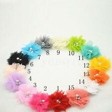 Baby Mesh Tulle Chiffon Flower Pearl Rhinestone Bow HairBand Accessories 10pcs