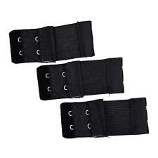 3pcs Woman 2 x 2 Hook and Eye Tape Elastic Extension Bra Extender Black Y9P8