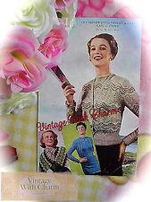 """Vintage Knitting Pattern Lady's """"Feather & Fan"""" Twin Set & Scarf. 34-36in. Bust"""