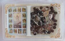Dark Brown Wood STATIONS OF THE CROSS Chaplet Rosary w/ color images box & instr