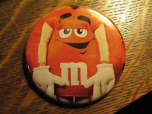 M&M's Mars Chocolate Candy Red Mascot Costume Advertisement Lapel Button Pin