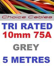 TRI Rated Cavo 10mm 75 AMP 5 METRI GRIGIO AUTO GUAINA FILO bs6231 filo quadro 5m