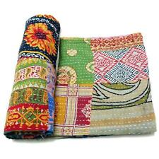 patchwork Kantha Quilt Handmade Cotton Bedspread Gypsy Throw Bedding Cover PB54