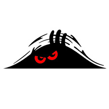 Black Peeking Monster Funny Sticker Car Window Bumper Vinyl Decal Red Eye