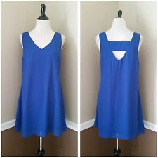 NWT Modcloth Dress L Royal Blue Shift Sleeveless Sundress Back Cutout Pink Owl