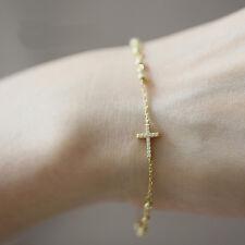 rhinestone sideway cross bracelet adjustable chain bracelet bohemian bracelet