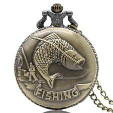 Reloj de bolsillo nuevo Carpa Pesca Deporte Cuarzo Río Hobby Completo Hunter Cadena Regalo UK