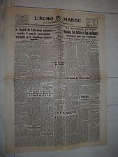 FAC-SIMILE A LA UNE JOURNAL L'ECHO DU MAROC 16/05 1944 CAMPAGNE D'ITALIE