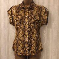 Karen Millen Snake Print Yellow Short Sleeve Pocket Popper Shirt Blouse Top 8 36
