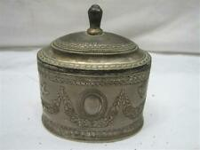Vintage Ornate Victorian Sewing Pin Cushion Box Felt Lined Trinket Lid Pewter
