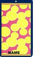 """30"""" x 60"""" Name Embroidered Beach / Pool Towel With Lemon Slices Design"""
