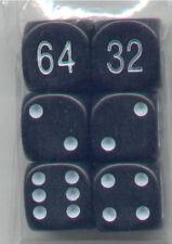 NEW Dice Set of 6 D6 (16mm) - Backgammon Opaque Bllack