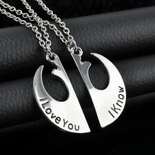 New Star Wars Couple Necklace I Love You I Know Two Part Pendant  Charm Jewelry
