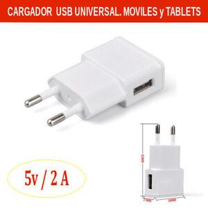 Cargador USB UNIVERSAL para moviles y Tablets. 5V / 2A. Entrega 24/48h