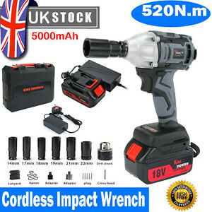 """520Nm Cordless Impact Wrench 1/2"""" Drive Ratchet Nut Gun with 18V 5.0Ah Batteries"""