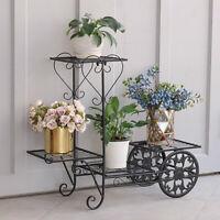 Bicycle Design 4 Tier Metal Shelf Flower Pot Plant Stand Display Indoor Outdoor