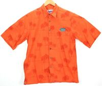 Reyn Spooner Orange Hawaiian Button Up Camp Shirt Palm FL Gators Mens sz Medium